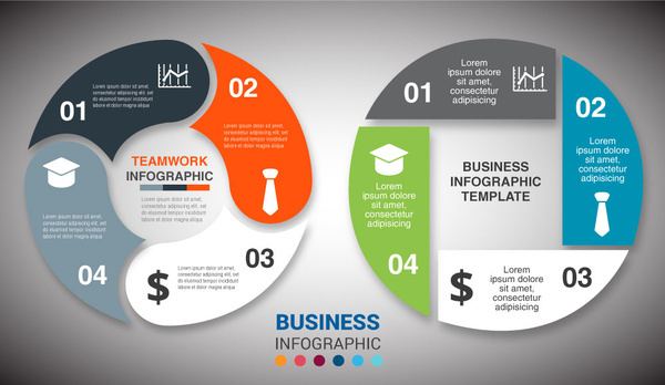 business infographic diagram design with round cycles