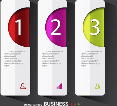 business infographic diagram illustration with vertical tabs