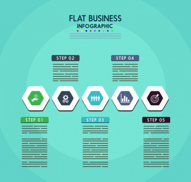 business infographic flat design polygon icons decor