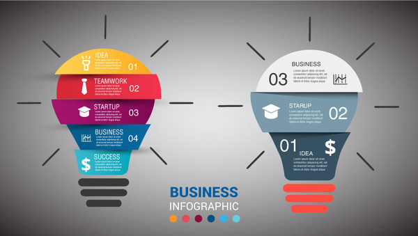 business infographic illustration with abstract bright light bulbs