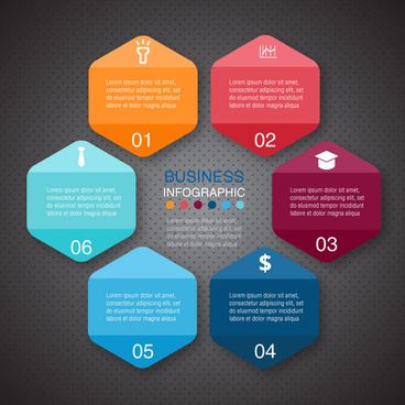 business infographic illustration with colorful abstract hexagons