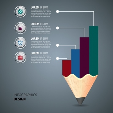business infographic template colored pencil and chart decoration