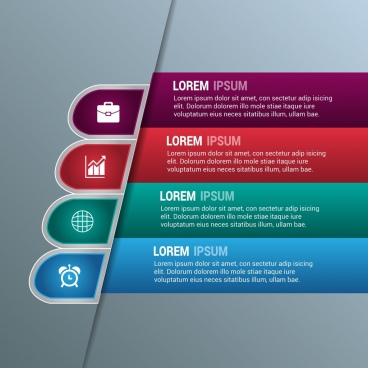 business infographic template modern colored horizontal design