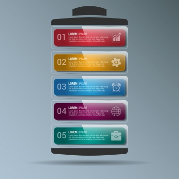 business infographic template shiny horizontal colorful stack style