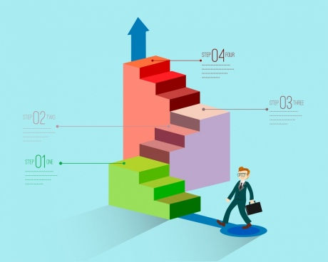 business infographic template staircases icons 3d design
