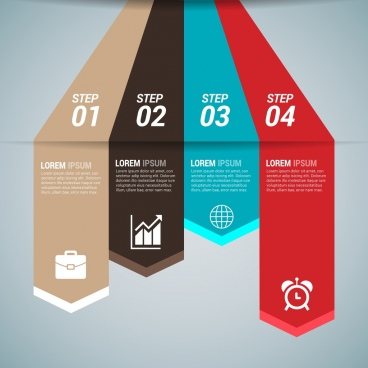 business infographics design colorful arrows lines 3d style