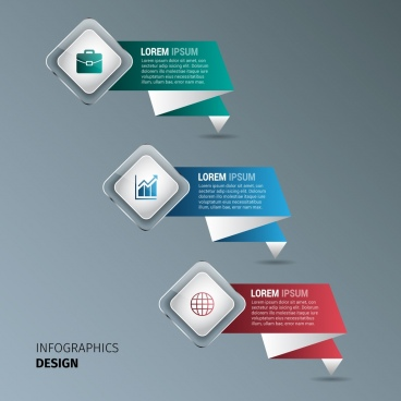 business infographics design element colored origami design