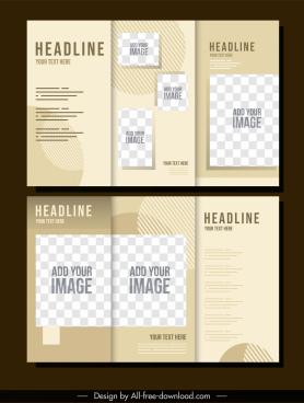 business leaflet template elegant checkered decor trifold shape