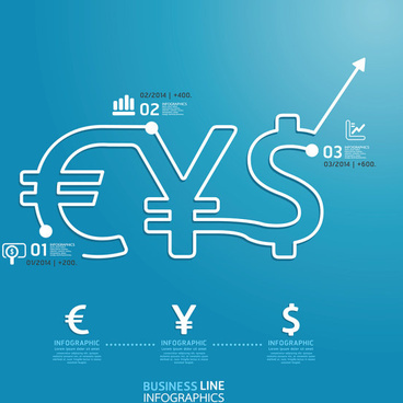 business line financial infographics vector