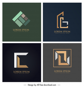 business logo templates colored modern flat geometric design