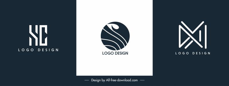 business logo templates modern flat shapes sketch