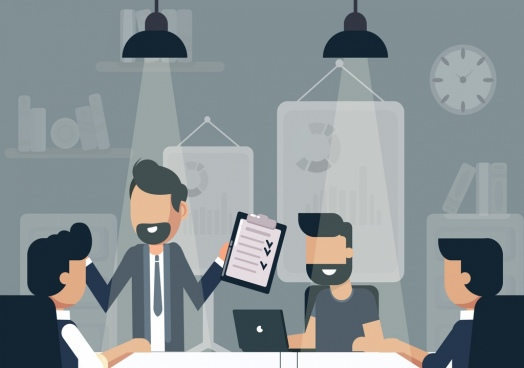 business meeting background people room lights cartoon sketch