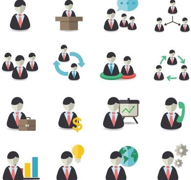 business men office figures icons