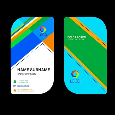 business name card template with rounded abstract design