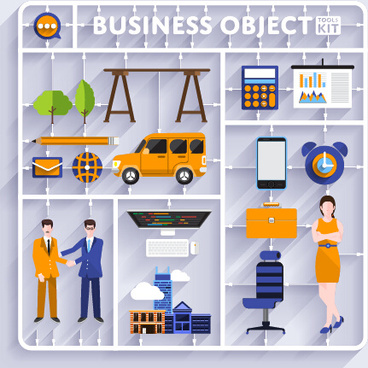 business object flat vector design set