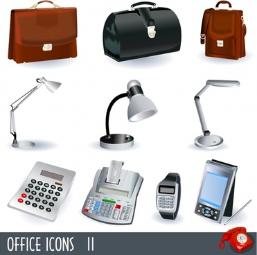 office elemtns icons modern 3d design