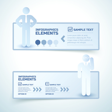 business people and infographic elements banner