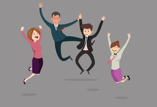 business people cheering vector illustration with jumping gesture