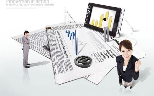 business people data chart psd layered 2