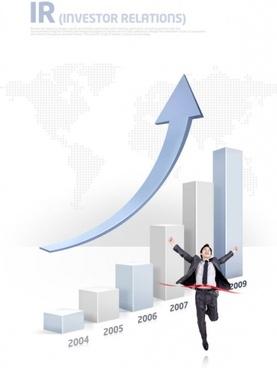 business people data chart psd layered 3
