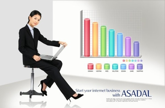 business people data chart psd layered 5