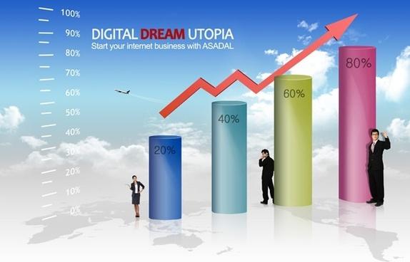 business people data charts psd layered 4