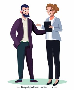 business people icons elegant gentleman lady sketch