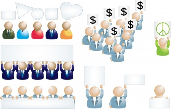 business people icons shiny colored modern sketch