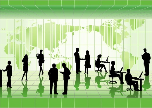 business background modern 3d green design silhouette icons