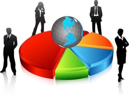 business background staff globe chart icons 3d design