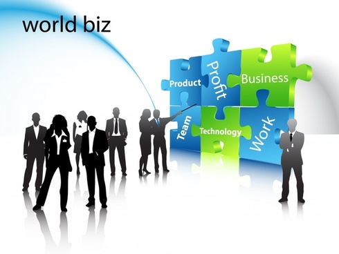 business background people puzzle joints modern 3d design