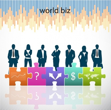 business background modern joint puzzles silhouette decor