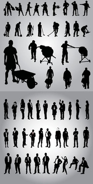 working people icons black silhouette sketch