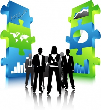 business background modern 3d silhouette people puzzle joints