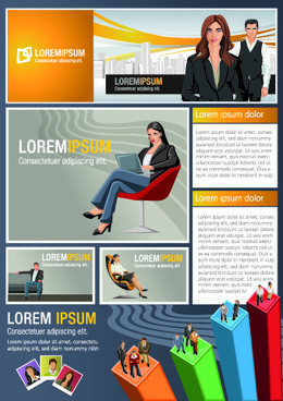 business people vector template set