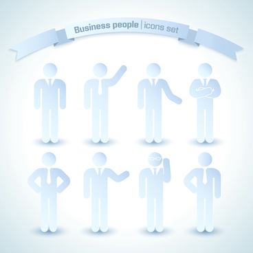 business people white icons
