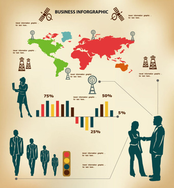 business people with business infographics design vector