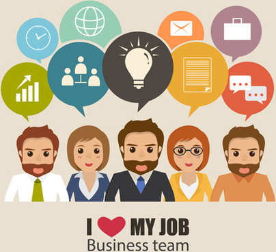 business people working vector templates set
