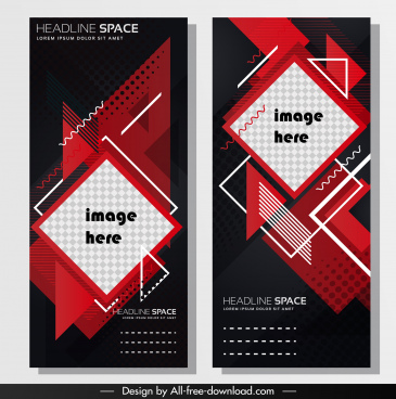 business poster template modern dark flat geometric decor