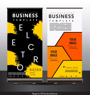 business poster templates grunge flat geometric decor