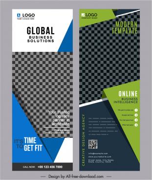 business poster templates modern checkered decor vertical design
