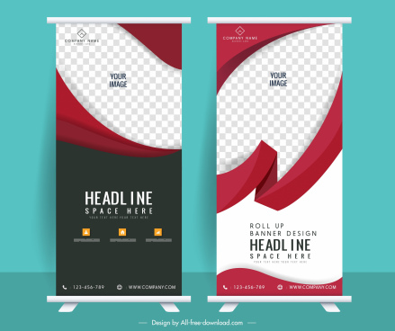 business poster templates modern checkered swirled standee decor