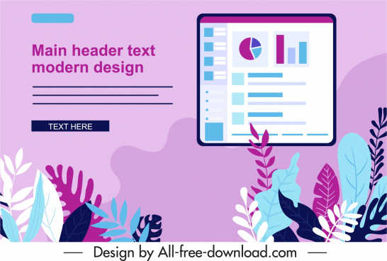 business presentation background leaves charts sketch colorful flat