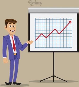 business presentation by businessman illustration