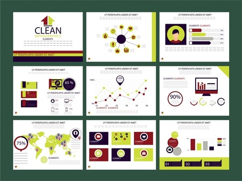 business presentation design with infographics elements illustration