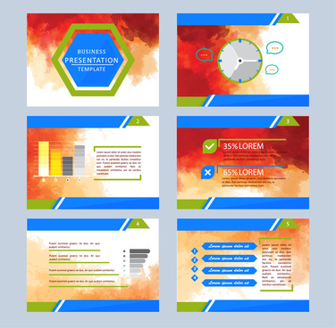 business presentation template illustrations with colorful abstract background