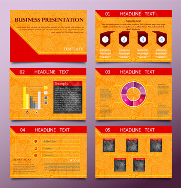 business presentation templates design with orange vignette background