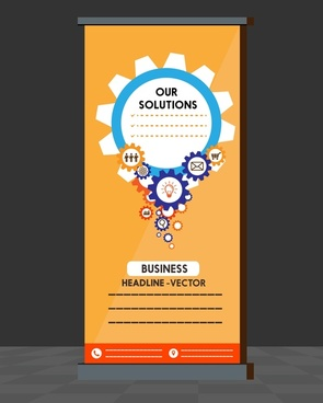 business roll up banner design with interface gears