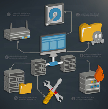 business server and database media vector template