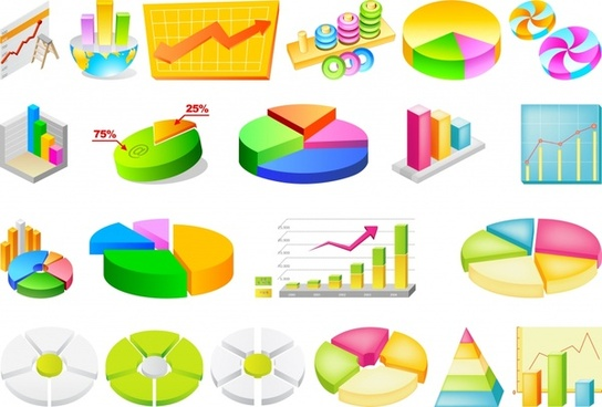 business charts templates colorful 3d design